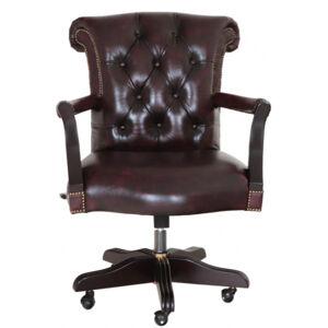 Kancelárska stolička Chesterfield z pravej hovädzej kože Whisky