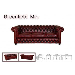 Pohovka jednomiestna Chesterfield Greenfield z pravej hovädzej kože Brown